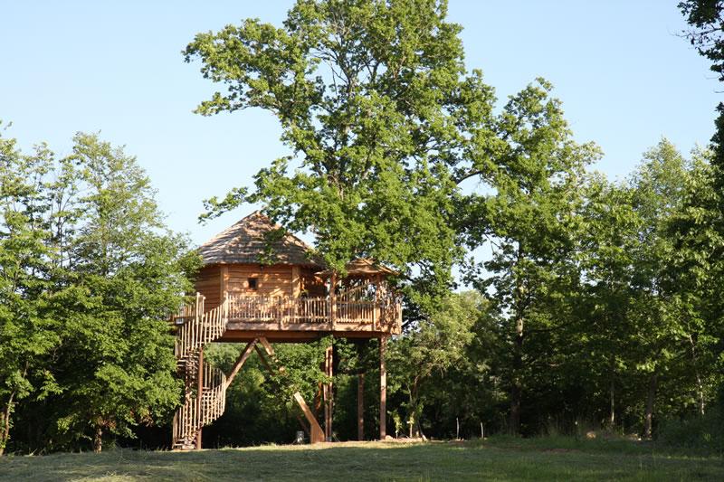 La cabane p rigord perch e dans les arbres - Cabane en bois dans les arbres ...